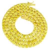 """Canary Lab diamonds Tennis Necklace Solitaire 22"""" 4mm XmasDeal"""