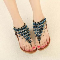 Blue Beads Sandals for Women RE8