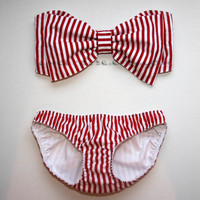 Red and White Stripe Bow Bandeau Set