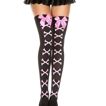 Black/Pink Bow & Bones Thigh Highs