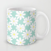 Bright Happy Daisies on Mint Mug by Perrin Le Feuvre