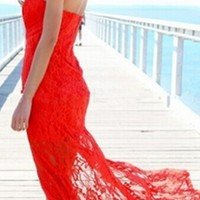 Red Lace Strapless Plunge Sweetheart Neck Zip Back Thigh Slit Maxi Dress