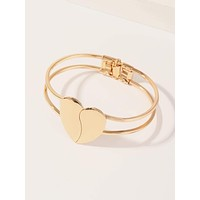 1pc Metallic Heart Decor Bangle