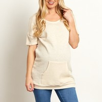 Beige-Textured-Pocket-Front-Short-Sleeve-Maternity-Top