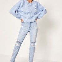 Missguided - Blue Riot High Rise Graffiti Busted Knee Jeans