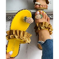 New style lace pearl flat heel women sandals European and American beach women's shoes