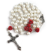 Glass Pearl Beads Rosary with Lourdes Center Piece