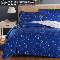 Active printed galaxy bedding set, Stars duvet cover with bed sheet,queen twin size bed set,bedclothes&45
