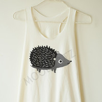 Porcupine shirt funny animal shirt cool shirt chic shirt funny top summer top women shirt racer shirt racer women tank top women tshirt