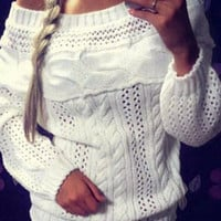 White  Boat Neck Long Sleeve Ribbed Knitted Sweater
