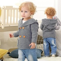 Baby Boys Jackets 2018 Spring Solid Hooded Outerwear Coats Autumn Cotton Knitted Newborn Infant Sweaters 3 Colors Baby Clothing