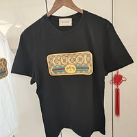 GUCCI Embroidered short sleeve cotton loose Unisex crew neck T-shirt