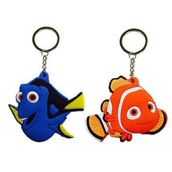 Fancy Fantasy 1pcs Finding Nemo Cartoon PVC Keychain Finding Dory Fish Mini Figure Pendants Charms Collection Toy Key Ring