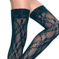Gothic Black Lace Thigh Highs