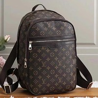 LV Louis Vuitton new printed letters large-capacity backpack school bag travel bag Coffee LV print