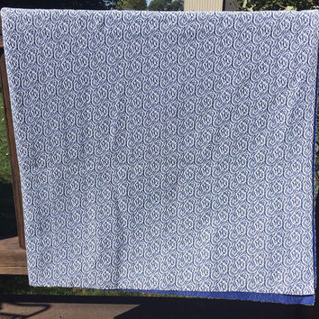"2+ Yards of vintage blue and white textured Polyester Fabric,1960 Era fabric 60"" wide, vintage fabric retro polyester project fabric, sewing"
