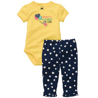 """Carter's Girls """"Daddy's Favorite Girl"""" 2 Piece Embroidered Short Sleeved Bodysuit with Applique and Pant Set"""