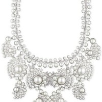 Givenchy Silver-Tone Faux Pearl and Crystal Collar Necklace | macys.com