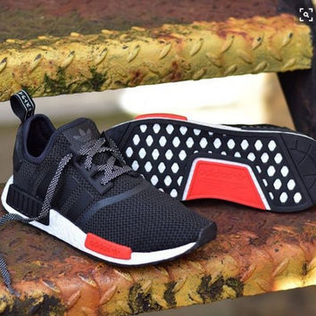 """""""Adidas"""" NMD Trending Fashion Casual Sports Shoes Black red soles"""
