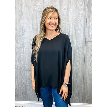 Laughter in the Rain Black Poncho Top