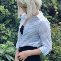 Striped Button Up Top Blue