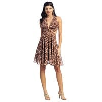 CLEARANCE - Light Brown Casual Polka Dot Dress Halter Short Dress Open Back (Size Small)