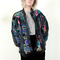 black genuine real leather jacket, colorful pattern coat, womens outerwear, vintage 70's 80's tumblr,  soft grunge vaporwave fashion