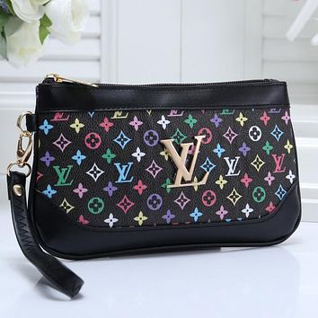 LV Louis Vuitton hot sale fashion color matching printed letters cosmetic bag key case small wallet clutch bag