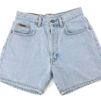 90s Calvin Klein Jean Shorts, High Waisted Denim Shorts, Button Fly Vintage CK, Grunge, Light Blue Enzyme Stone Wash, Womens Size 7
