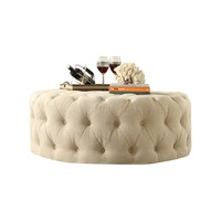 Kingstown Home Carthusia Round Tufted Cocktail Ottoman