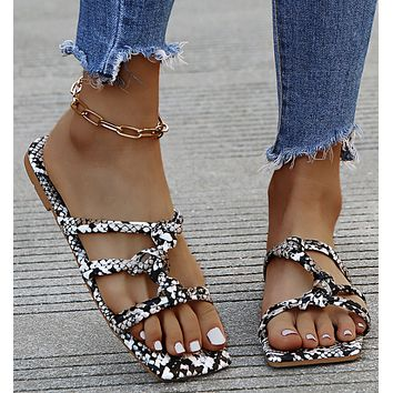 New style sandals flip flops snakeskin pattern sandals and slippers women shoes