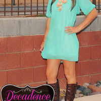 WHATS MINT TO BE BOW DRESS