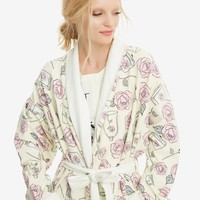 Licensed cool Beauty & the Beast Belle Roses Books Plush Robe Bathrobe Juniors S/M OR L/XL NWT