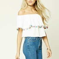 Pom Pom Off-the-Shoulder Top