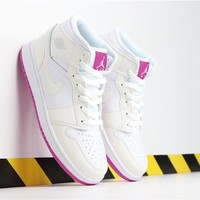 Air Jordan 1 AJ1 Retro Basketball Shoes White/Purple size 36-40