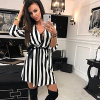 V-Neck Striped dress Summer Black White Striped Beach Casual Loose dresses vestidos Plus Size
