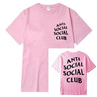 Fashion loose leisure print anti social social club T-shirt pink
