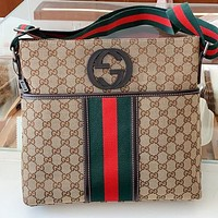 GUCCI Fashion New More Letter Canvas Shoulder Bag Crossbody Bag Khaki