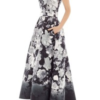 Alfred Sung Floral Print Strapless Sateen High/Low Dress   Nordstrom