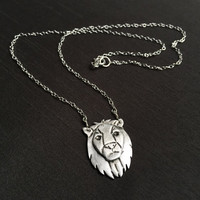 """Silver Lion Pendant, Leo Zodiac Necklace, Spirit Animal, 18.5"""" Sterling Silver Chain, Fine Silver (.999%) Handmade Jewelry, Gifts for Women"""