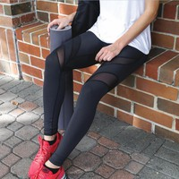Black Mesh Patchwork Elastic Yoga Long Leggings