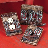 Turquoise & Red Boot Switch and Outlet Covers - Home