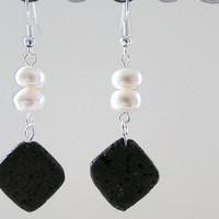 Lava rock and Pearl earrings , semi precious stone earrings , unusual earring , white freshwater pearl silver plated earrings, uk seller