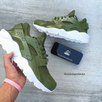 Custom Olive Nike Huaraches (read description for more info)