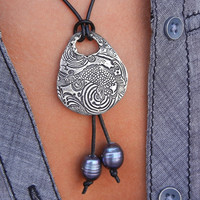 Koi Fish Leather & Pearl Necklace