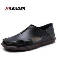 New Spring Luxury Leather Sandals Men Beach Shoes Casual Genuine Leather Loafers For Men Flat Sandals