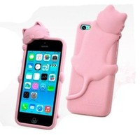 BYG Pink Lovely Kiki Cat Silicone Case Cover for Apple iPhone 5C with Earphone Anti Dust + Gift 1pcs Phone Radiation Protection Sticker