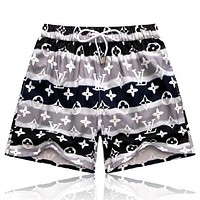 LV Fashion new monogram print couple shorts Gray