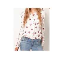 White Stand Collar Button Red lip Print chiffon Blouse Shirt lady fashion Long Sleeve blouse(without pocket)