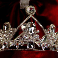Royal crown , tiaras for wedding , crystal silver tiara hand made for order inlaid with SWAROVSKI  Crystals and rhinestones,